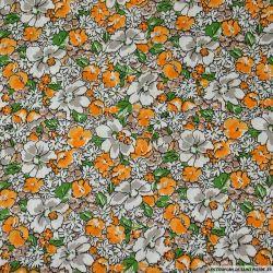 Coton imprimé rêve en floraison orange