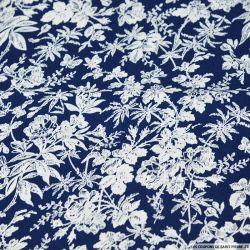 Coton imprimé esquisse roseraie blanc fond marine