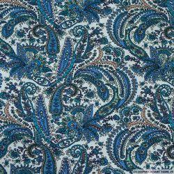 Coton imprimé j'aime mon cachemire bleu