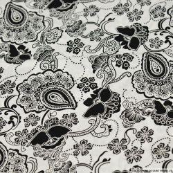 Coton imprimé grand paisley noir fond blanc