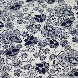 Coton imprimé grand paisley marine fond blanc