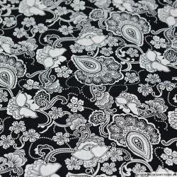 Coton imprimé grand paisley blanc fond noir