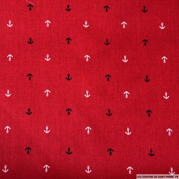 Coton imprimé ancre marine rouge