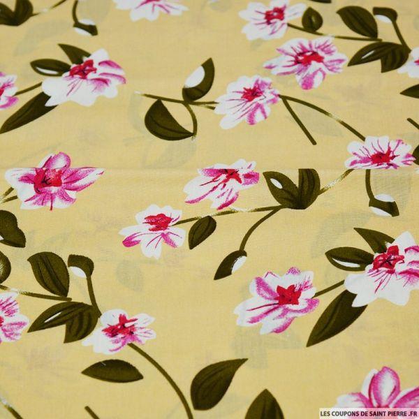 Coton imprimé fleur solitaire rose fond jaune