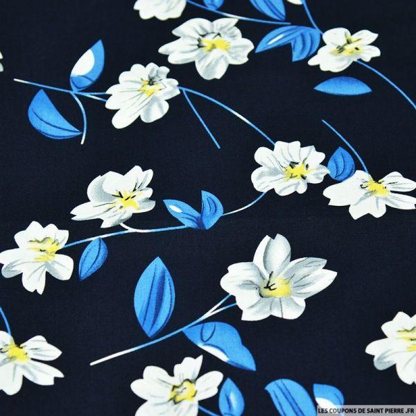 Coton imprimé fleur solitaire jaune fond bleu marine