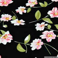 Coton imprimé fleur solitaire rose fond noir