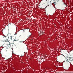 Coton imprimé croquis rouge