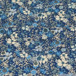 Coton imprimé songe floral pop bleu