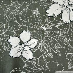 Coton imprimé croquis vert