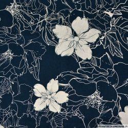 Coton imprimé croquis bleu marine