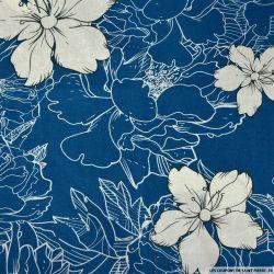 Coton imprimé croquis bleu clair