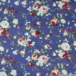 Coton imprimé au bon vieux temps violet-bleu clair