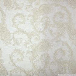 Tulle brodée irisé motif cachemire blanc cassé