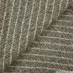 Tweed polyviscose irisé à rayures blanche sur fond gris