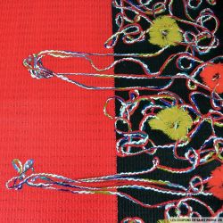 Jersey brodé contre collé acrylique noir et rouge