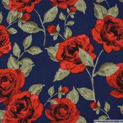 Coton imprimé rosier fond marine
