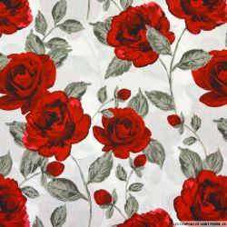 Coton imprimé rosier fond blanc
