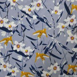 Coton imprimé hirondelle fond bleu charette