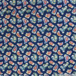 Coton imprimé motif cachemire fond marine