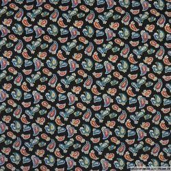 Coton imprimé motif cachemire fond noir