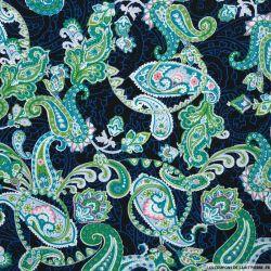 Coton imprimé paisley fantaisie bleu