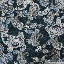 Coton imprimé paisley fantaisie gris