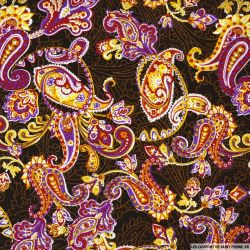 Coton imprimé paisley fantaisie violet