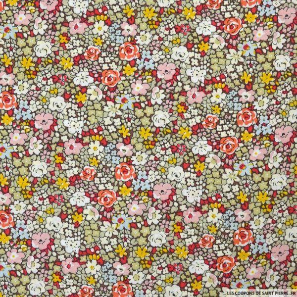 Coton imprimé minis fleurs brique