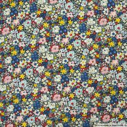 Coton imprimé minis fleurs jaune