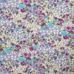Coton imprimé coloriage fleuris violet