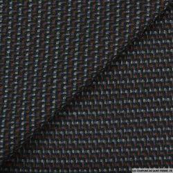 Tissu tailleur poly-visvose noir, orange, vert et gris