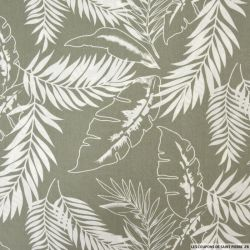 Coton imprimé jungle fond vert de gris