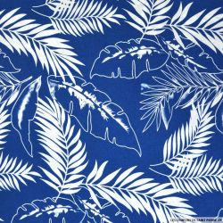 Coton imprimé jungle fond bleu