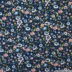 Coton imprimé nuage de fleurs fond marine