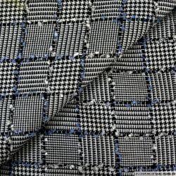 Prince de galles à carreaux noir et blanc fantaisie bleu et blanc