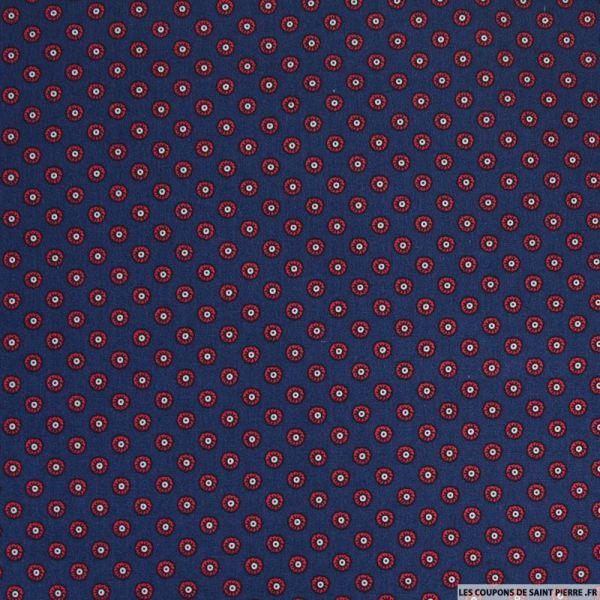 Coton imprimé motif cravate fond marine