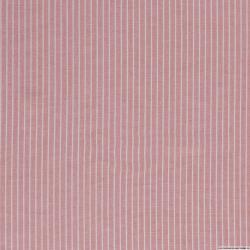 Lin viscose imprimé fines rayures blanc fond rose clair