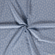 Lin viscose imprimé feuille blanche fond bleu clair
