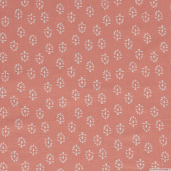 Lin viscose imprimé feuille blanche fond rose clair