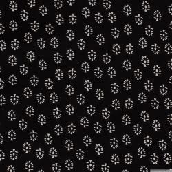 Lin viscose imprimé feuille écru fond noir