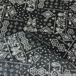 Coton imprimé motif bandana classique fond noir