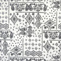 Coton imprimé motif bandana classique fond blanc