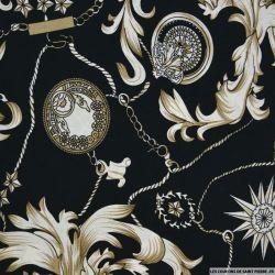 Coton imprimé gourmette fond noir
