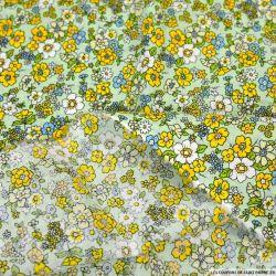 Coton imprimé fleurs vintage fond vert
