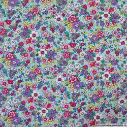 Coton imprimé fleurs vintage fond ciel