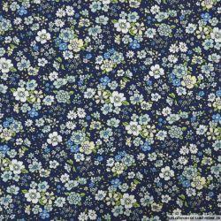 Coton imprimé fleurs vintage fond marine