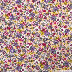 Coton imprimé fleurs vintage fond rose