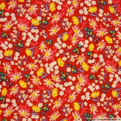 Coton imprimé fleurs mélangées fond rouge