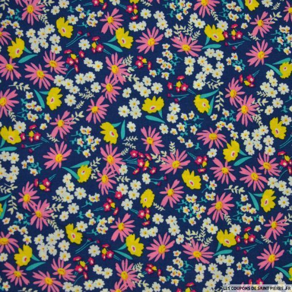 Coton imprimé fleurs mélangées fond bleu