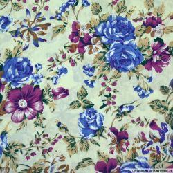 Coton imprimé bouquet fleuris violet fond écru